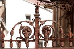 Rusty iron gate detail. Detail of a rusty iron gate stock photos