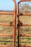 Rusty iron gate to rural pasture locked with rusty chain and padlock with blurred field and scrub trees seen through it royalty free stock photography
