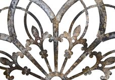 Rusty iron grunge metal lacy decoration isolated on white royalty free stock images