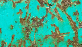 Rusty iron metal surface with turquois paint. Texture and background. Rusty and corroded metal surface with peeled cyan paint. Grungy texture and background stock image