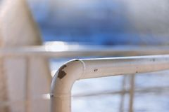 Rusty Iron railings of tour boat. In istanbul of Turkey Stock Photos