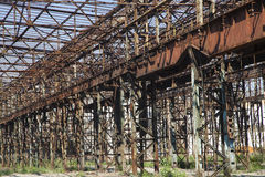 Rusty iron skeleton factory. Rusty iron skeleton industrial factory stock photography