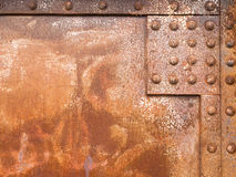 Rusty iron surface steel rivets texture pattern Stock Images