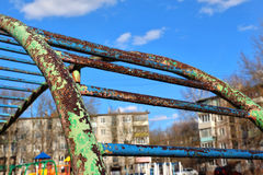 Rusty jungle gym with leafless paint at playground Royalty Free Stock Images