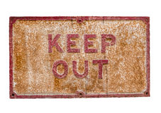 Rusty Keep Out Sign Stock Photo