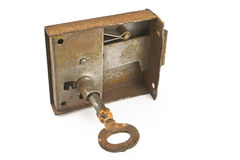 Rusty key in locker Stock Photo