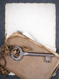 Rusty key, old book andempty photography Royalty Free Stock Photography