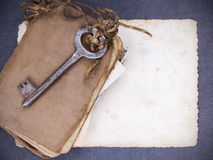 Rusty key, old book andempty photography Royalty Free Stock Photo