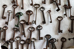 Rusty Keys on Wall (2). Many Old Keys on Hooks Royalty Free Stock Photography