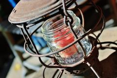 Rusty lantern with candle Stock Image