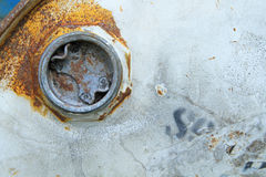Rusty lid on chemical drum Royalty Free Stock Photo