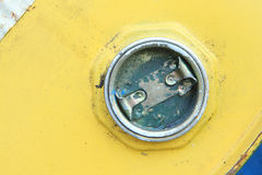 Rusty lid on chemical drum Royalty Free Stock Photography