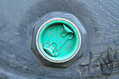 Rusty lid on chemical drum Royalty Free Stock Image