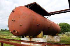 Rusty liquified gas cylinder Stock Photos