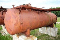 Rusty liquified gas cylinder Royalty Free Stock Image