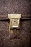 Rusty lock on leather bag Stock Photography
