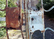 Rusty lock of an old gate, Jelenia Gora, Poland Stock Photos