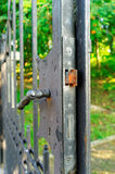 Rusty lock in the old iron gate Royalty Free Stock Images