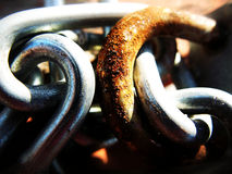 Rusty lock shackles. In closeup view stock image
