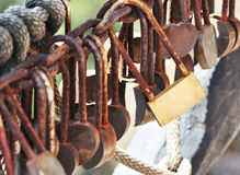 Rusty locks on mountain Royalty Free Stock Photos