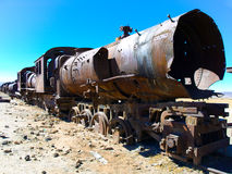 Rusty locomotive in train cemetery near Uyuni Stock Photos