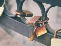 Rusty Lovers Padlock Stock Image