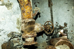 Rusty machine in old  refinery station. Rusty machine in old rotten refinery station Royalty Free Stock Image