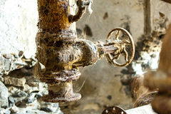 Rusty machine in old rotten. Refinery station Stock Photography