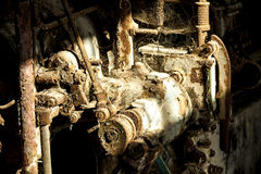 Rusty machine in rotten refinery station Stock Images