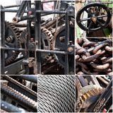 Rusty machinery, chains, steel wire rope collage of photos. Vintage color tone Royalty Free Stock Photo