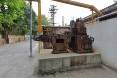 Rusty machines in redtory creative garden, guangzhou, china. Redtory creative garden is the predecessor of the food factory, mainly soviet-style buildings, the stock photo