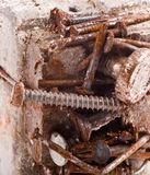 Rusty magnet with screws Stock Images