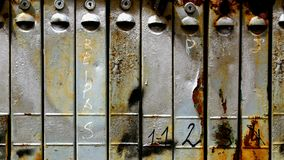 Rusty mail boxes. Close up old rusty metallic mail boxes stock photos