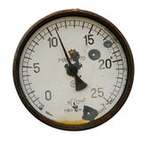 Rusty manometer isolated Royalty Free Stock Photography