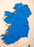 A Rusty Map Of Ireland!. A blue map or Ireland, with red dots on Dublin, Belfast, Dundalk and Galway royalty free stock photography