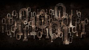 Rusty matrix binary code, outdated software, dark rusted background with digital binary code, cloud service, big data, artificial. Intelligence royalty free stock photography