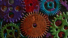 Rusty Mechanical Gear Parts Rotating colorido y mudanza encendido del fondo de la textura del Grunge ilustración del vector