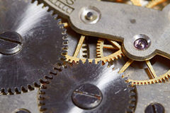 Rusty mechanism in the old clock Stock Photography