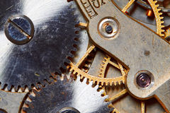 Rusty mechanism in the old clock Stock Images