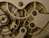 Rusty mechanism in the old clock,time concept Royalty Free Stock Photo