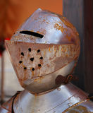 Rusty medieval helmet of a soldier of the king Royalty Free Stock Photo