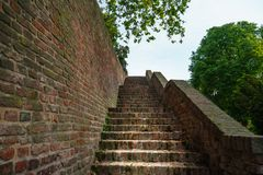 Rusty medieval stairs at the medieval fortress in Belgrade stock image