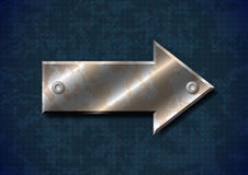 Rusty metal arrow with rivets Stock Image