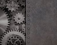 Rusty metal background with gears and cogs 3d illustration. Rusty old metal background with gears and cogs royalty free stock photo