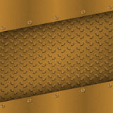 Rusty Metal Background with plate and rivets. Metallic grunge texture. Brass, copper latticed template. Stock Images