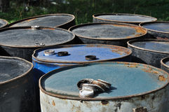 Rusty metal barrels Stock Photos