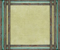Rusty metal bars and blue aged canvas. Rusty metal bars and blue on aged canvas royalty free illustration
