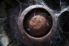 Rusty metal bolt head with cobwebs Royalty Free Stock Photo