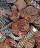 Rusty metal bolts. Industrial background Stock Image