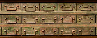 Rusty metal cabinet with drawers Royalty Free Stock Image
